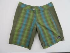 Patagonia Women's Hiking Shorts Size 10 32 Slabstick Blue Green Brown Plaid EUC
