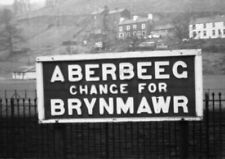 PHOTO  GWR ABERBEEG RAILWAY STATION NAMEBOARD MONMOUTHSHIRE RAILWAY AND CANAL CO