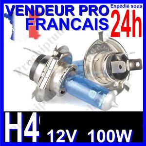 AMPOULE H4 XENON 100W LAMPE POUR VOITURE FEU SUPER WHITE PHARE 12V PLASMA 6500K