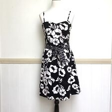 Womens Target Dress Size 14 Black White Lined Strap Boned Tie Cotton Party
