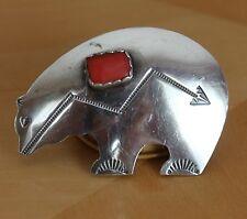 Hallmarked Sterling Silver Native American Navajo Bear and Coral Pin