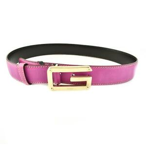 """GUCCI: Pink, Leather & Gold """"G"""" Buckle Logo Belt fits 30"""" to 32"""" (qm)"""