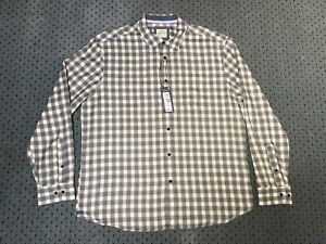Brand New Men's M&S Grey Checked Soft Touch Shirt Sizes XL to 3XL