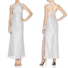 $325 Laundry By Shelli Segal Metallic Silver Sleeveless Maxi Dress/ Gown- Size 6