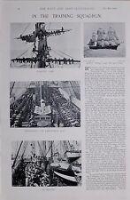 1896 BOER WAR NAVY TRAINING SQUADRON FURLING SAIL DIVISIONS CAPT HMS VOLAGE
