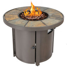 "32"" Round Outdoor Propane Gas Fire Pit Table 50,000 BTUs Patio Heater With Cover"