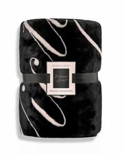 "Victorias Secret Sherpa Blanket 50"" x 60"" Logo Black Pale Pink Super Soft NWT"