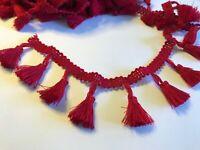 Burgundy Red 4cm Trim Tassel Fringe Cotton Lace Ribbon Price per 30cm DIY Craft