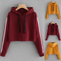 Womens Jumper Loose Blouse Hooded Striped Ladies Sweatshirt Shirt Hoodies Tops