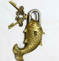 Vintage Décor Antique Solid Brass Polished Tricky Fish Padlock Lock & Keys BL 07