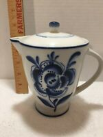 Vintage Chocolate Pot Made in USSR White & Blue - Mint Condition
