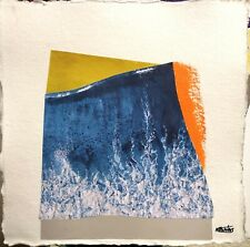 More details for tidal wave collage and paint seascape on cotton rag paper signed by nigel waters