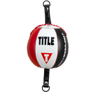 Title Boxing Infused Foam Inflated Leather Double End Bag - Red/White/Black