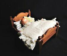 Vintage Signed Handmade Doll Bed w/ Vintage Doll & Comforter