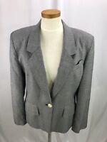 Vintage Jones New York Women's Gray Houndstooth Wool Blazer Jacket 10