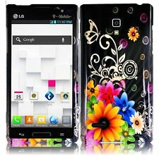T-Mobile LG Optimus L9 HARD Protector Case Snap On Phone Cover Chromatic Flower