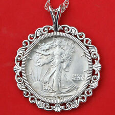 US 1941 Walking Liberty Silver AU Coin Solid 925 Sterling Silver Necklace NEW