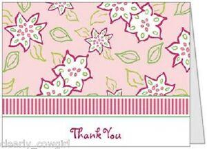 #7502 -- PINK GREEN FLORAL THANK YOU FOLDED NOTECARDS WITH ENVELOPES -WOW!
