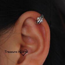 Silver Plate Dolphin Ear Cuff Earring - Ear Wrap - No piercing - Clip On NEW