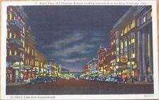 1940 Linen Postcard-Downtown at Night-Sandusky, Ohio OH
