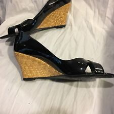 Franco Sarto Black Leather Woven Wedges New Womens 8.5