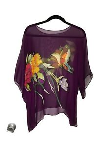 Cocoon House Sheer Silk Colorful Top Size M/L