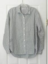 Lands' End Women's Size 18 Black & White Stripe BF Collar LS Shirt