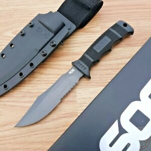 """SOG Seal Pup Fixed Knife 4.75"""" AUS-8 Stainless Blade Reinforced Zytel Handle"""