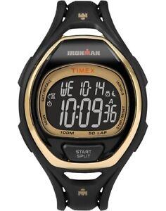 Timex Ironman Sleek 50 Chronograph Running Sports Full Size Watch - Black/Gold