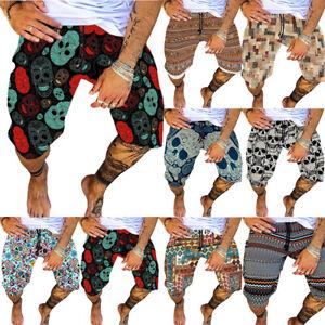 Men Skull Print Shorts Jogger Summer Holiday Casual Cotton Breathable Half Pants