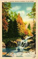 Vintage Postcard - A Beautiful Mountain Waterfall In Autumn Linen Unposted #1176