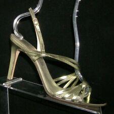 Anne Klein New York green metallic leather buckle slingback sandal heels 9.5M
