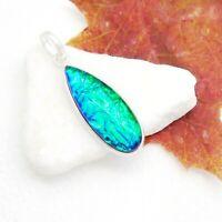 Äthiopischer Opal grün Tropfen Design Anhänger Amulett 925 Sterling Silber neu