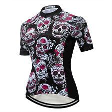 Women's Skull Cycling Jersey Shirt Reflective MTB Cycle Bike Jersey Top S-5XL