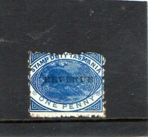 Tasmania 1900 1p blue stamp used with  blue canel