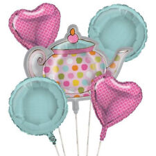 TEA TIME FOIL MYLAR BALLOON BOUQUET (5pc) ~ Birthday Party Supplies Decoration