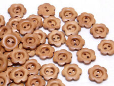 B455 Wooden Carved Flower Wood Buttons Sewing Craft Art DIY 17mm 50Pcs