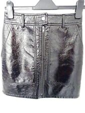 ❤ H&M Size 10 (EUR 36) Black Patent Crinkle Faux Leather Skirt NEW RRP £34.99