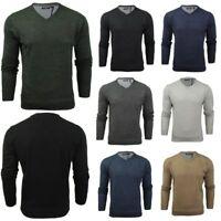 Mens Knitted V Neck Jumper Sweater Long Sleeve Brave Soul Quazar Sweatshirt Tops