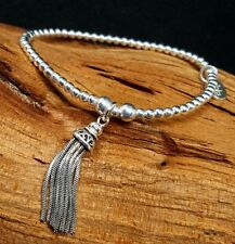 Inka 925 Sterling Silver beaded Stacking Bracelet with a large Tassel charm