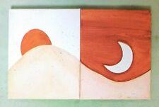 Sun & Moon Minimalist Wall Art Decor Set Handpainted Chic Home Art 2 pcs.8x10in.