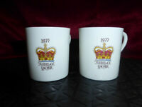 2 x 1977 QUEEN ELIZABETH II Silver Jubilee [ESPRESSO COFFEE] CUPS Royal Ware