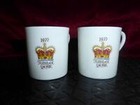 2 x 1977 QUEEN ELIZABETH II Silver Jubilee [ESPRESSO COFFEE] CUPS Royal Ware