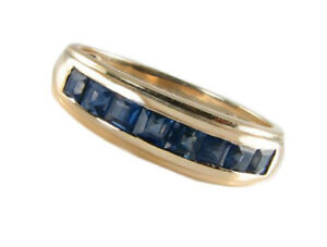 R308 Genuine 9ct, 14K, 18K Gold Natural Sapphire Square Channel set Wedding Ring