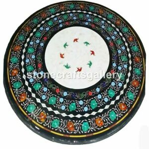 Black Marble Round Dining Table Top Malachite Floral Inlay Kitchen Decorate B036
