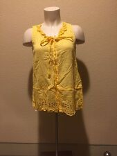 Anthropologie FLOREAT Bright Yellow Button Long Eyelet Tank Top 0 fits like 4
