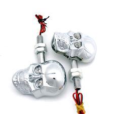 Motorcycle Skull LED Turn Signal Indicators Light For Harley Chopper Custom