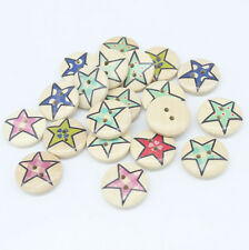 30 Mixed Star Pattern Wood Round Buttons 2 Holes Fit Sewing Scrapbook 20x20mm Z1