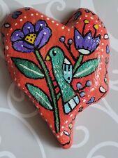 Hand Painted River Rock Stone Whimsical ORIGINAL Folk Art Heart Love Bird Flower