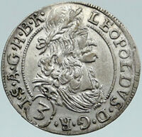 1692 AUSTRIA King Leopold I Habsburg OLD Antique Silver 3 Kreuzer Coin i87496